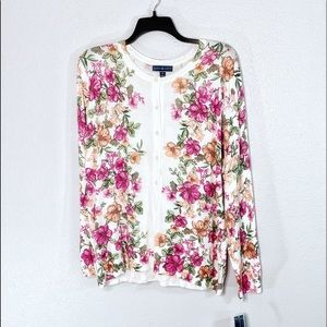 NWT Karen Scott Plus Knit Floral Cardigan Sweater